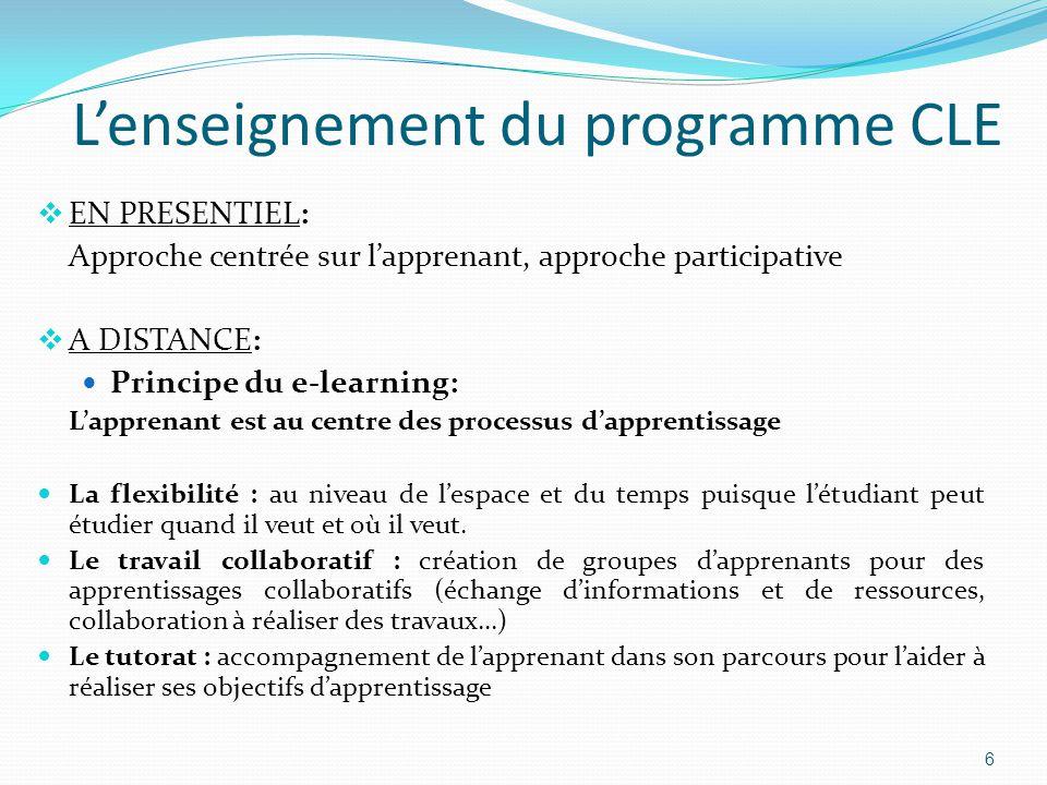 L'enseignement du programme CLE