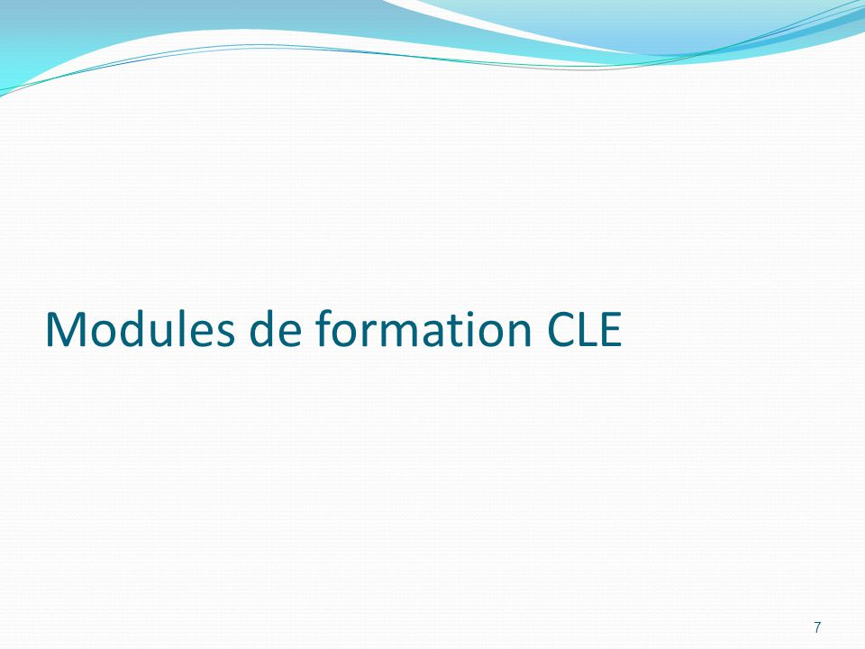 Modules de formation CLE