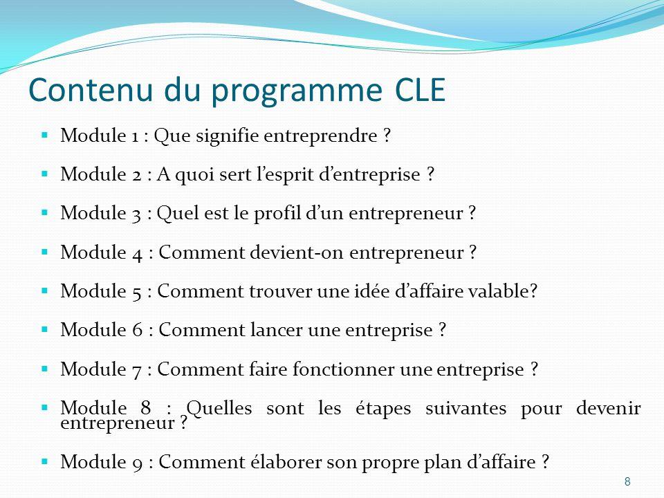 Contenu du programme CLE