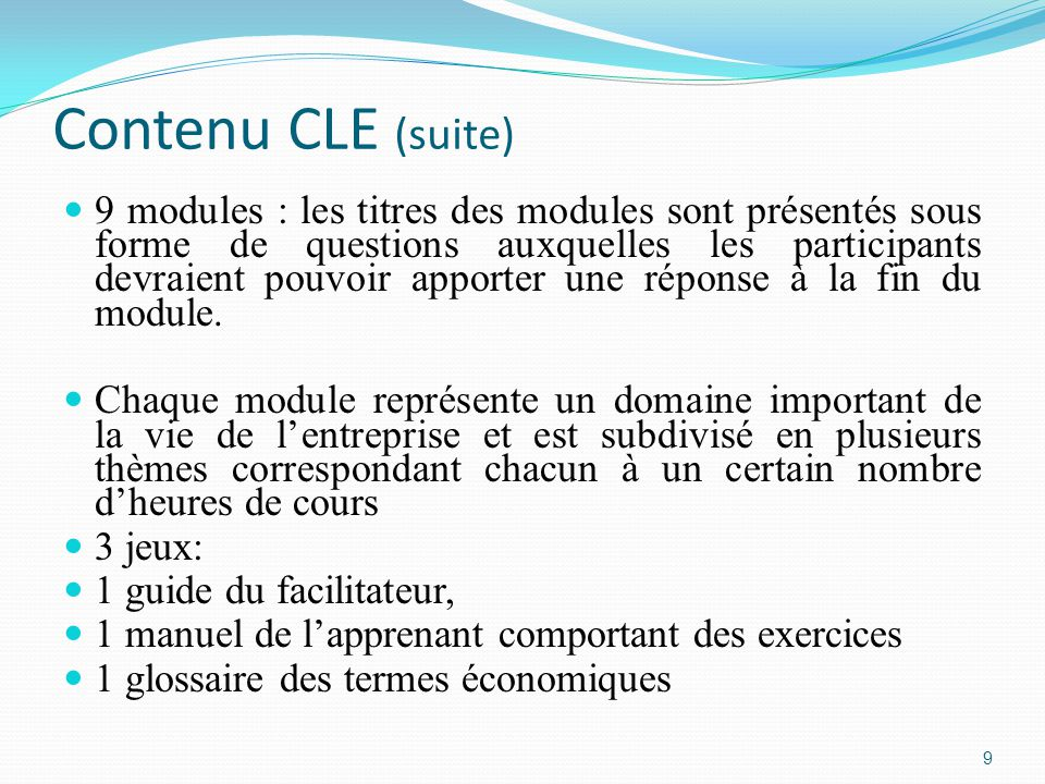 Contenu CLE (suite)