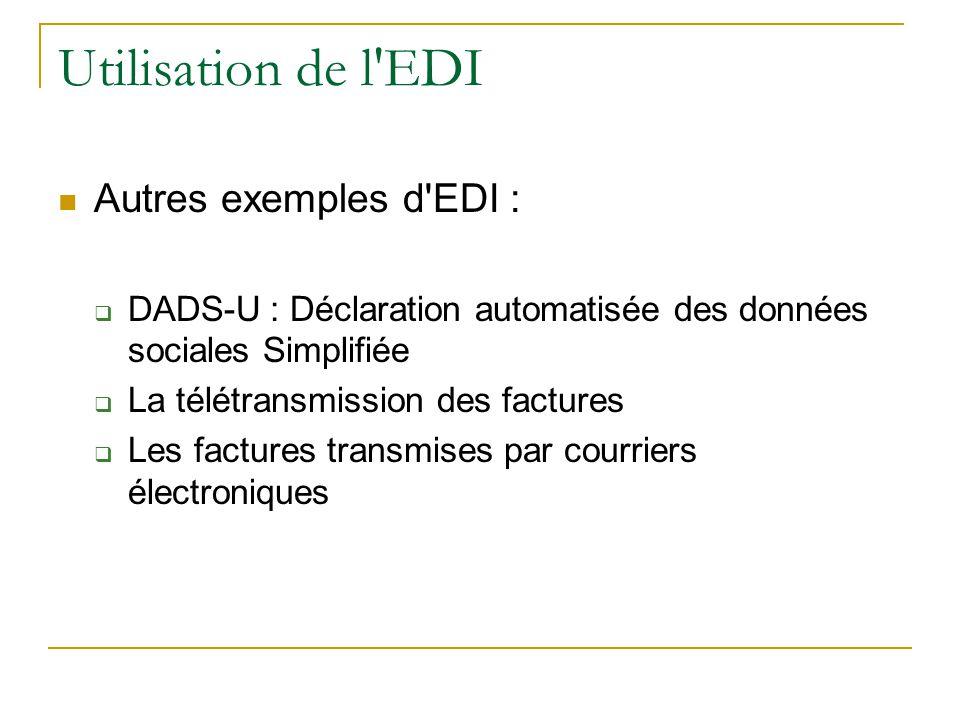 Utilisation de l EDI Autres exemples d EDI :