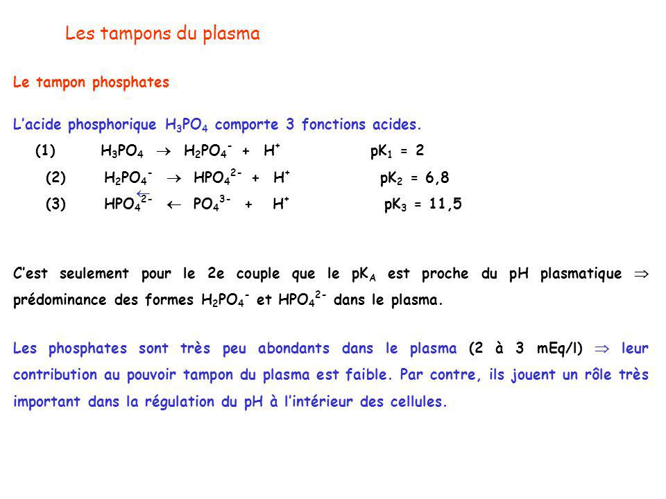 Les tampons du plasma Le tampon phosphates