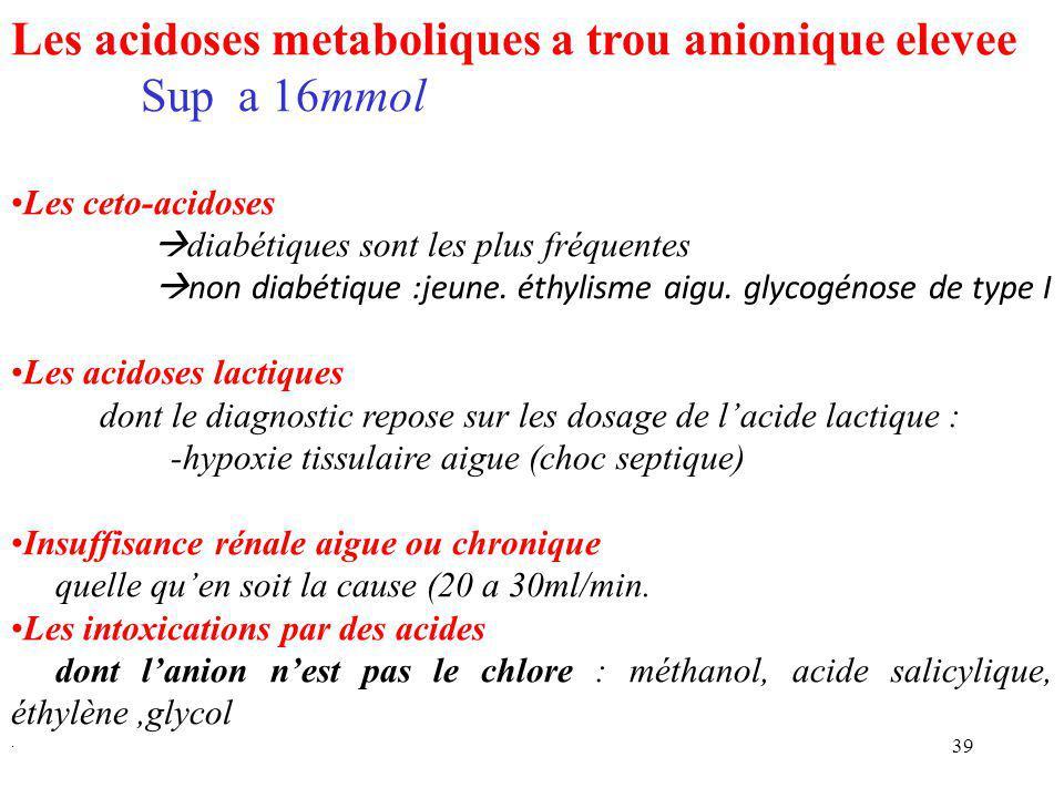 Les acidoses metaboliques a trou anionique elevee Sup a 16mmol