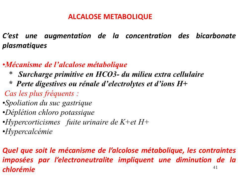 ALCALOSE METABOLIQUE C'est une augmentation de la concentration des bicarbonate plasmatiques. Mécanisme de l'alcalose métabolique.