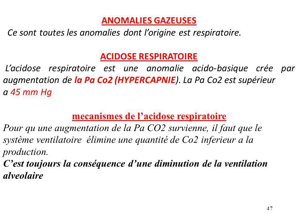 mecanismes de l'acidose respiratoire
