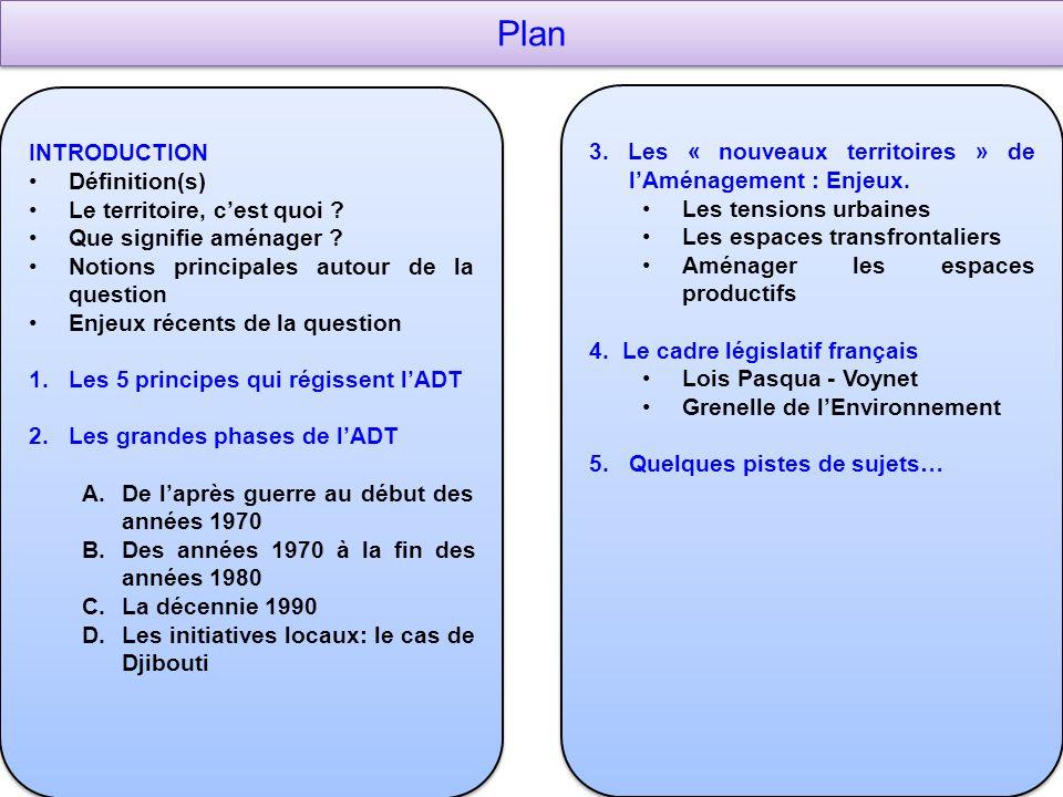 Plan INTRODUCTION. Définition(s) Le territoire, c'est quoi Que signifie aménager Notions principales autour de la question.
