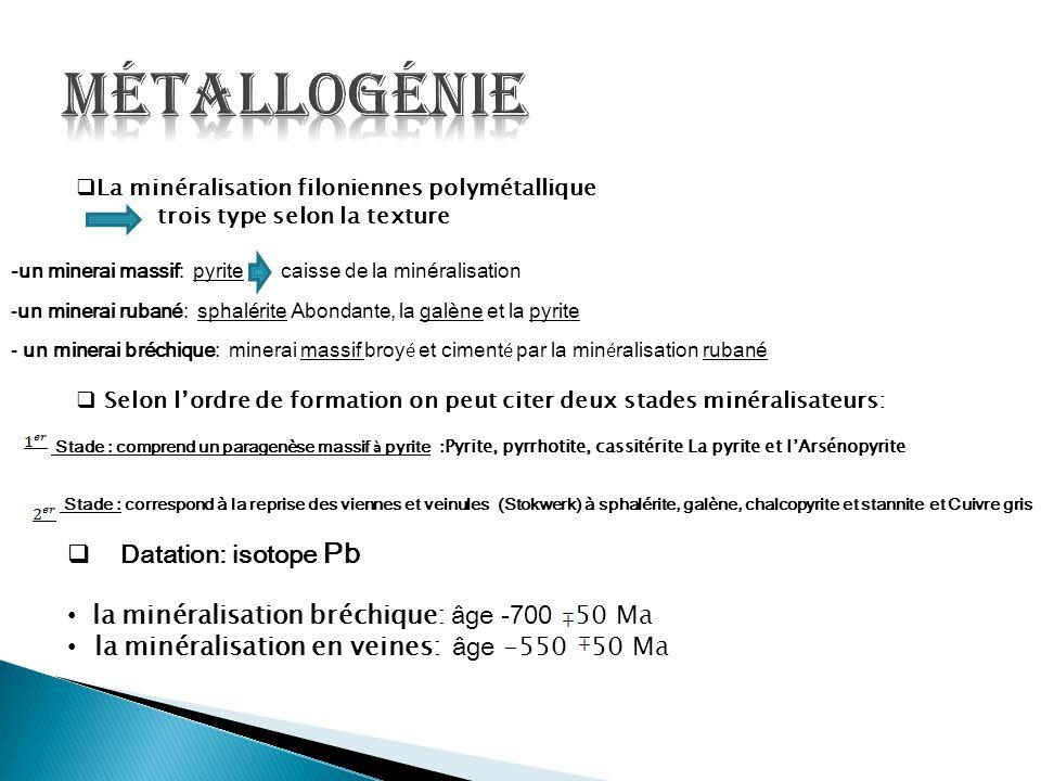Métallogénie Datation: isotope Pb