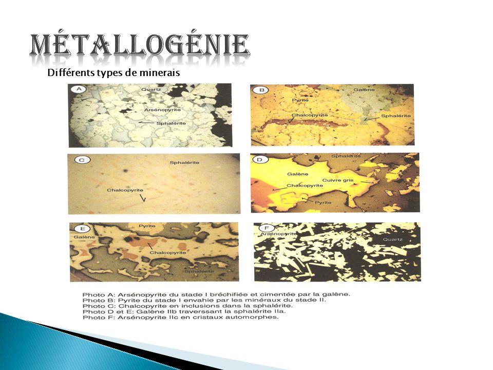 Métallogénie Différents types de minerais