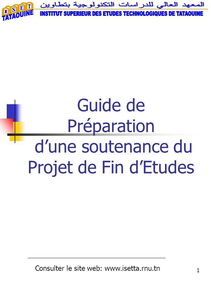 Guide de Préparation d'une soutenance du Projet de Fin d'Etudes