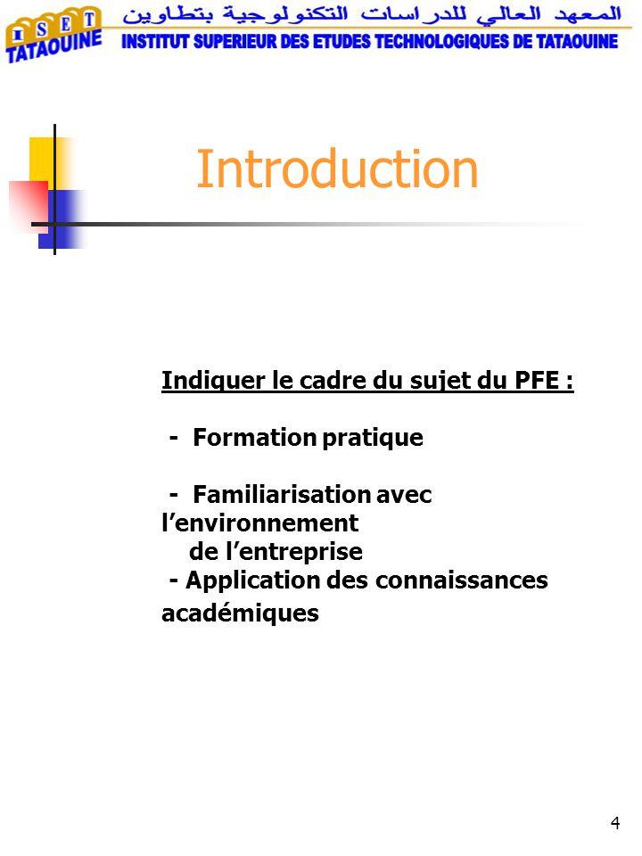 Introduction Indiquer le cadre du sujet du PFE : - Formation pratique