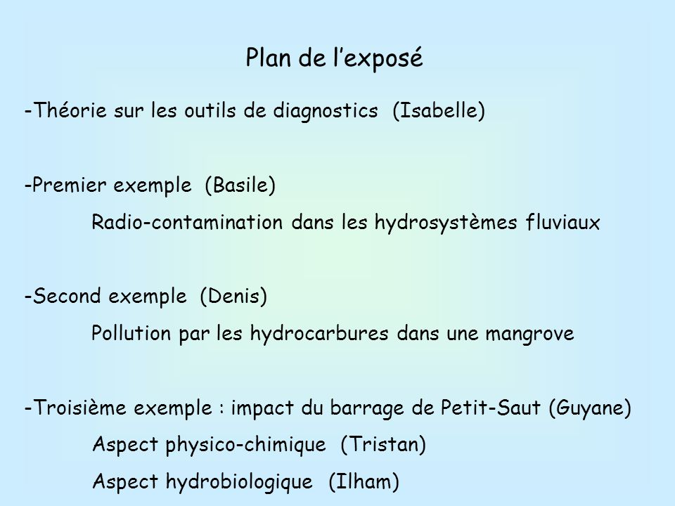 Plan de l'exposé -Théorie sur les outils de diagnostics (Isabelle)