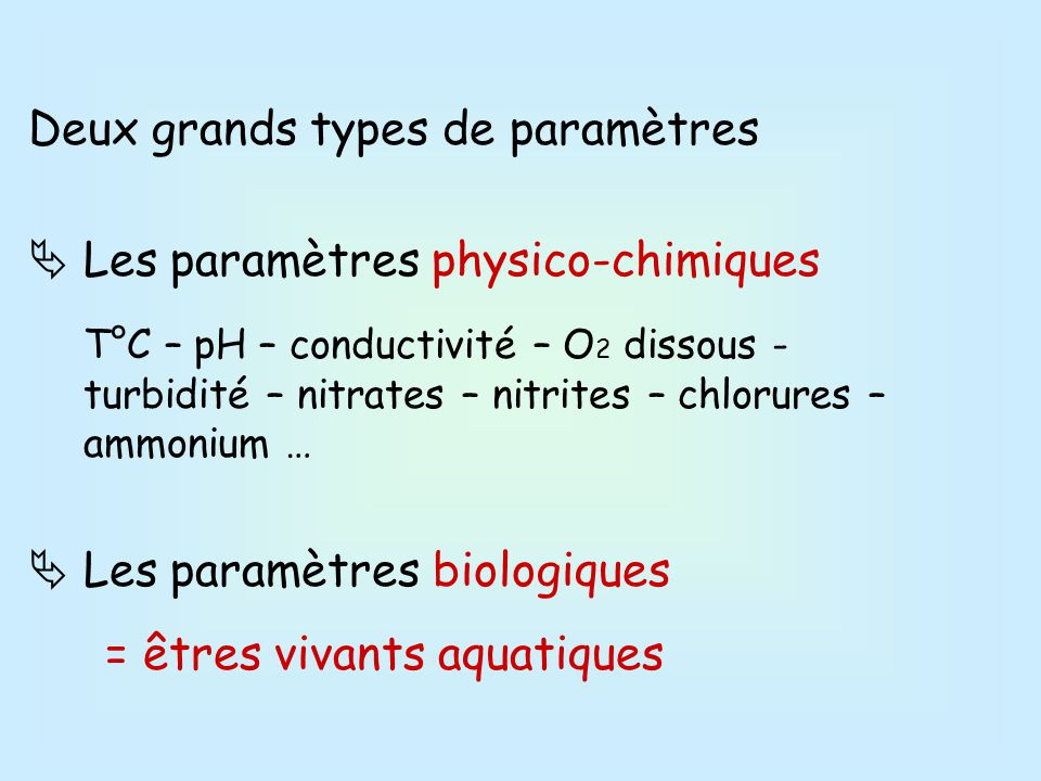 Deux grands types de paramètres