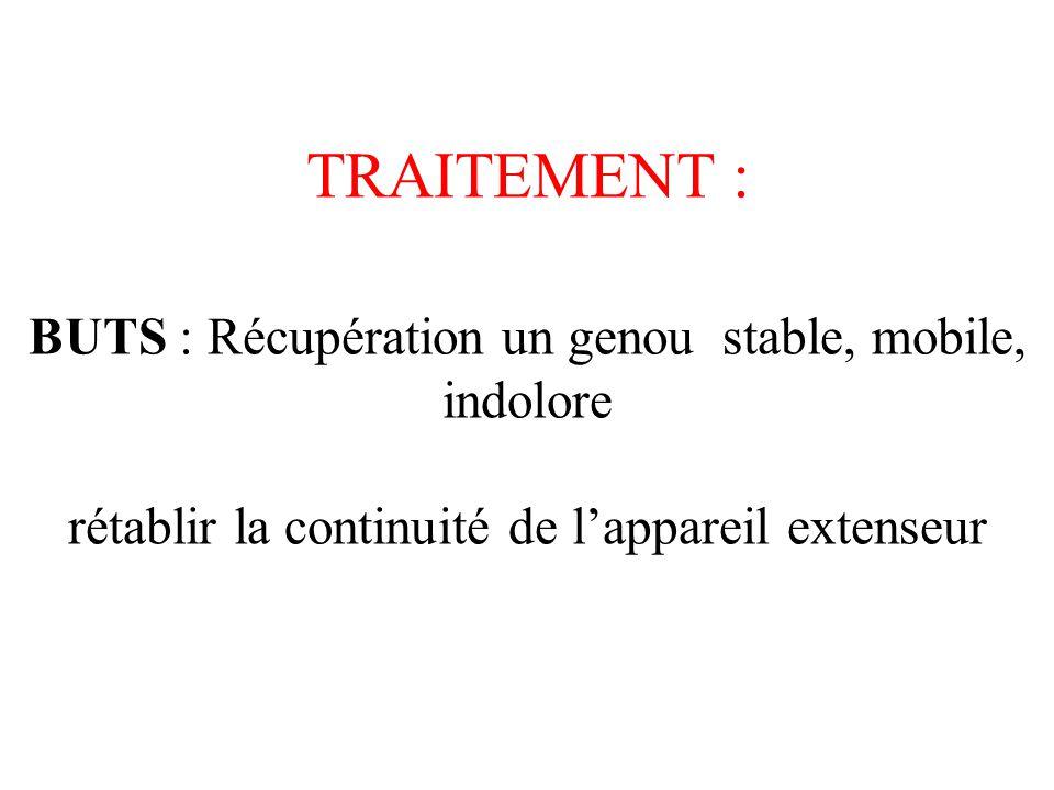 TRAITEMENT : BUTS : Récupération un genou stable, mobile, indolore