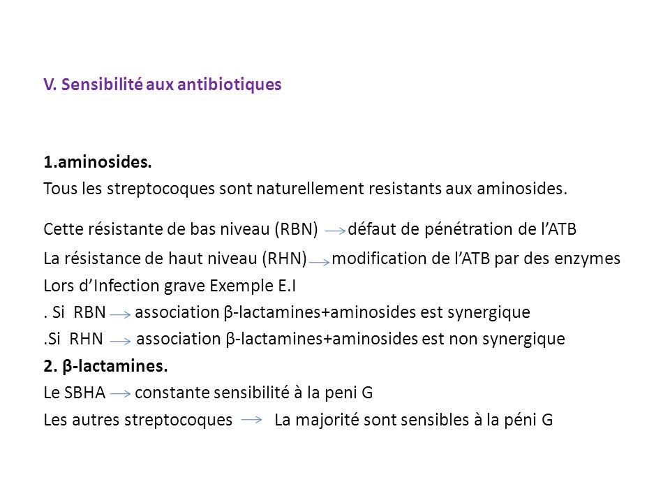 V. Sensibilité aux antibiotiques