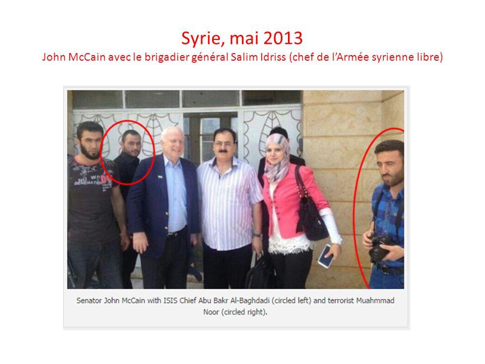 Syrie, mai 2013 John McCain avec le brigadier général Salim Idriss (chef de l'Armée syrienne libre)