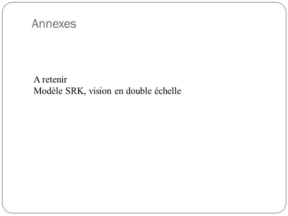 Annexes A retenir Modèle SRK, vision en double échelle