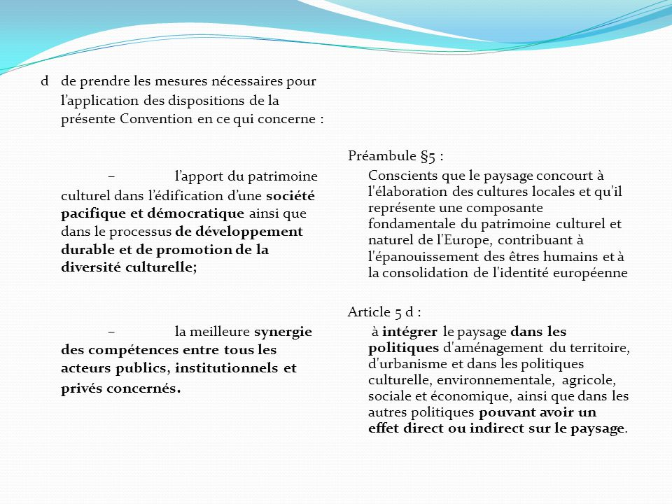 d de prendre les mesures nécessaires pour l'application des dispositions de la présente Convention en ce qui concerne :