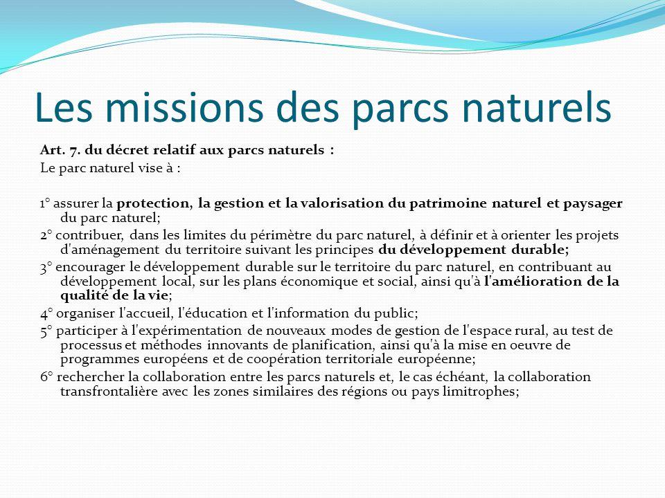 Les missions des parcs naturels