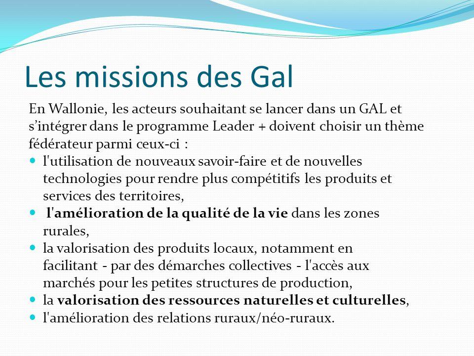 Les missions des Gal En Wallonie, les acteurs souhaitant se lancer dans un GAL et. s'intégrer dans le programme Leader + doivent choisir un thème.