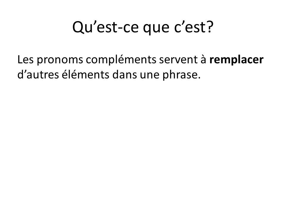Qu'est-ce que c'est Les pronoms compléments servent à remplacer d'autres éléments dans une phrase.