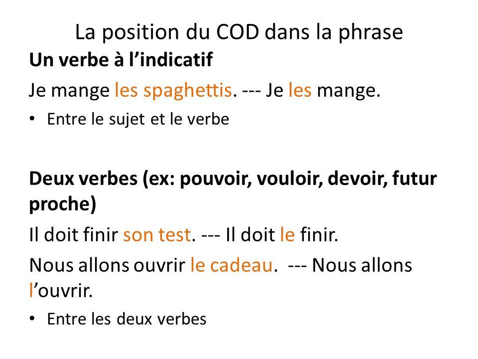 La position du COD dans la phrase