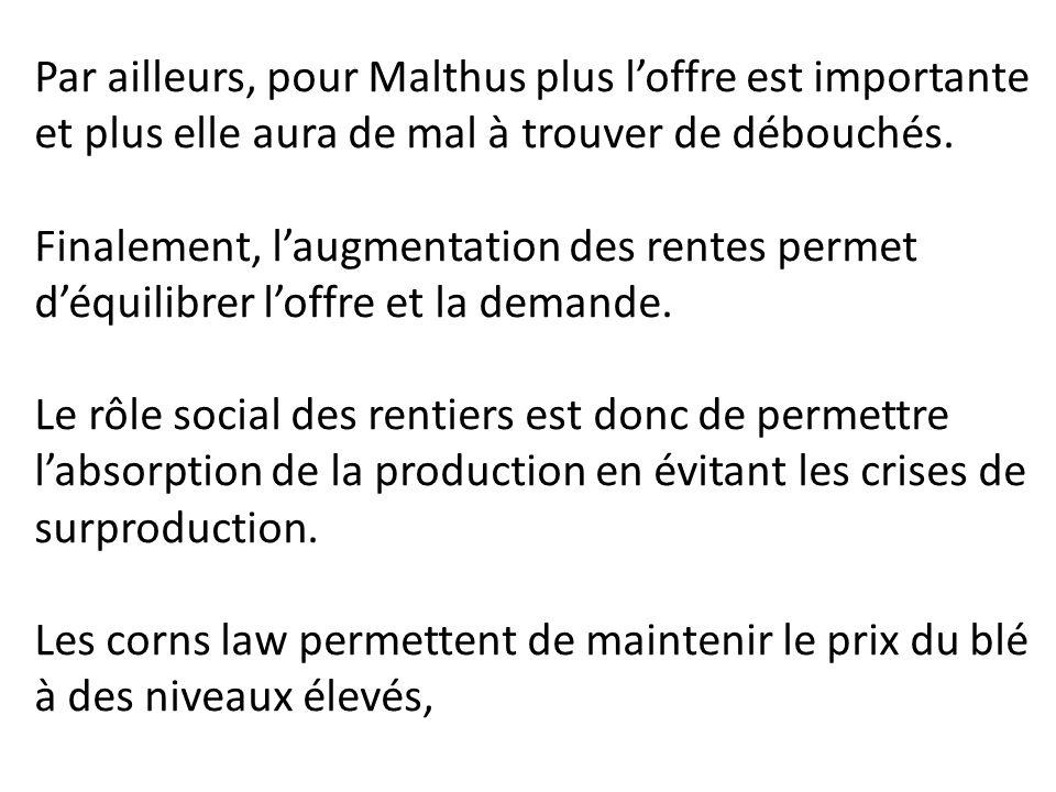 Par ailleurs, pour Malthus plus l'offre est importante et plus elle aura de mal à trouver de débouchés.
