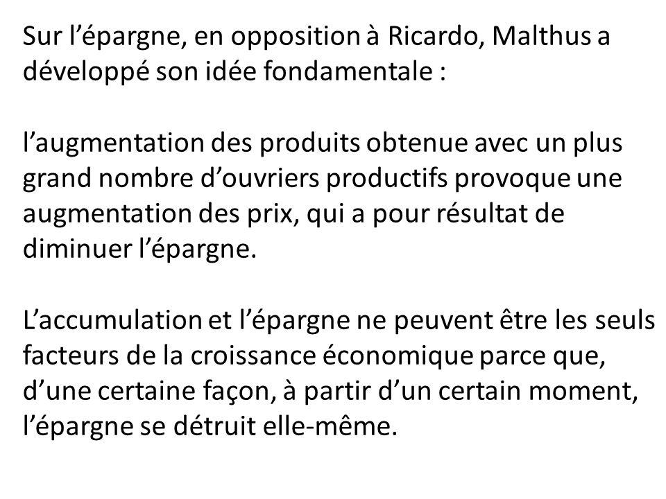 Sur l'épargne, en opposition à Ricardo, Malthus a développé son idée fondamentale :