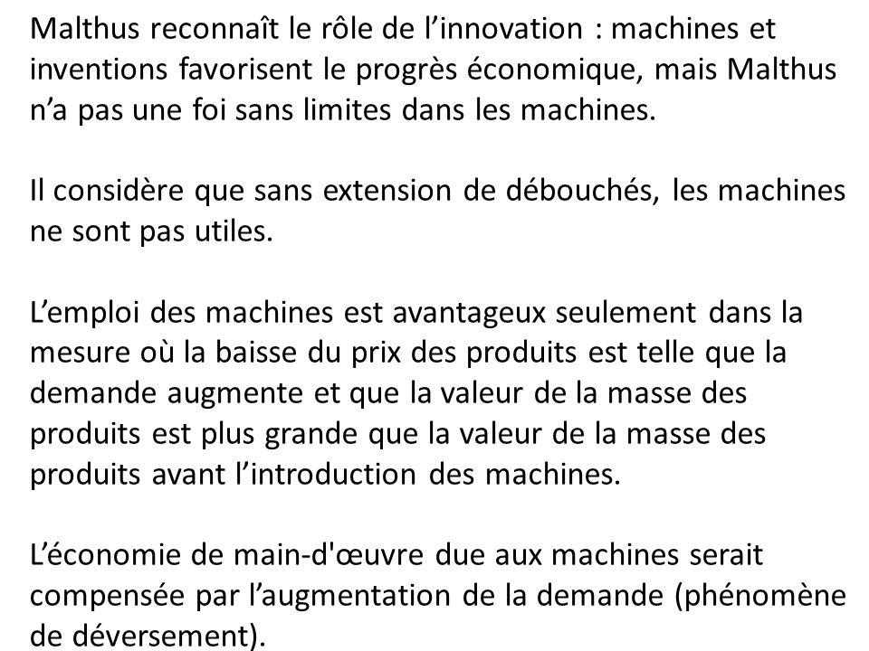 Malthus reconnaît le rôle de l'innovation : machines et inventions favorisent le progrès économique, mais Malthus n'a pas une foi sans limites dans les machines.