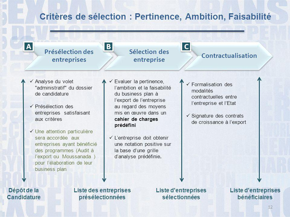 Critères de sélection : Pertinence, Ambition, Faisabilité