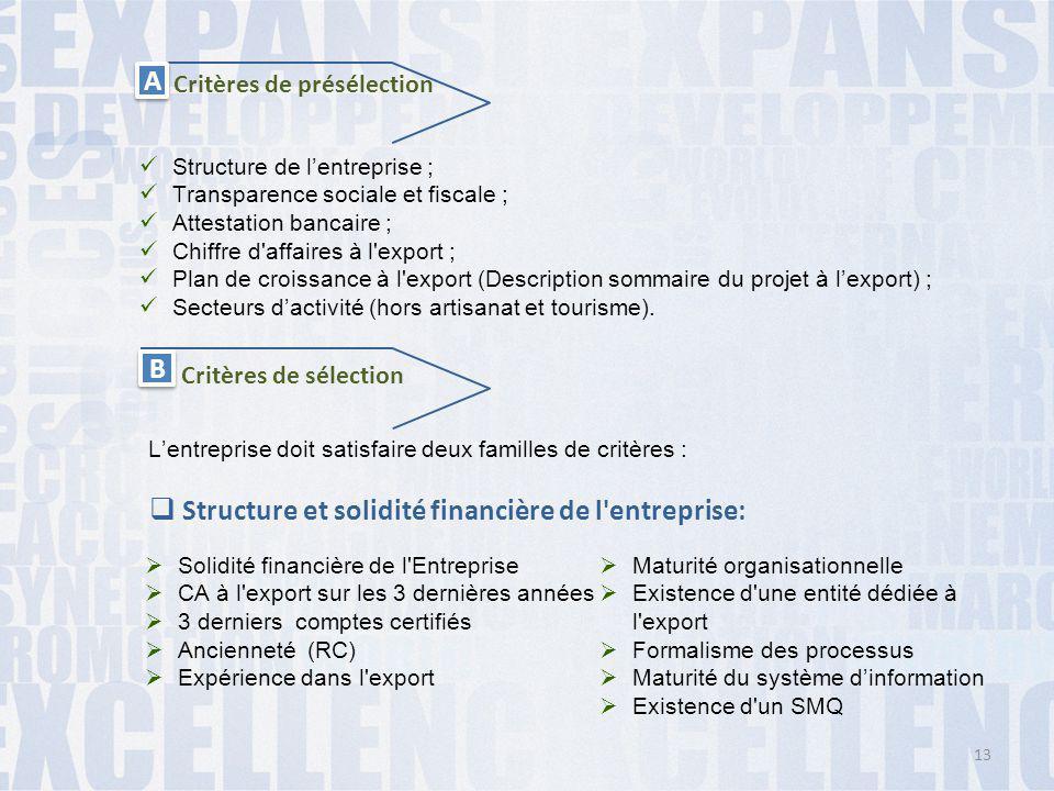 Structure et solidité financière de l entreprise: