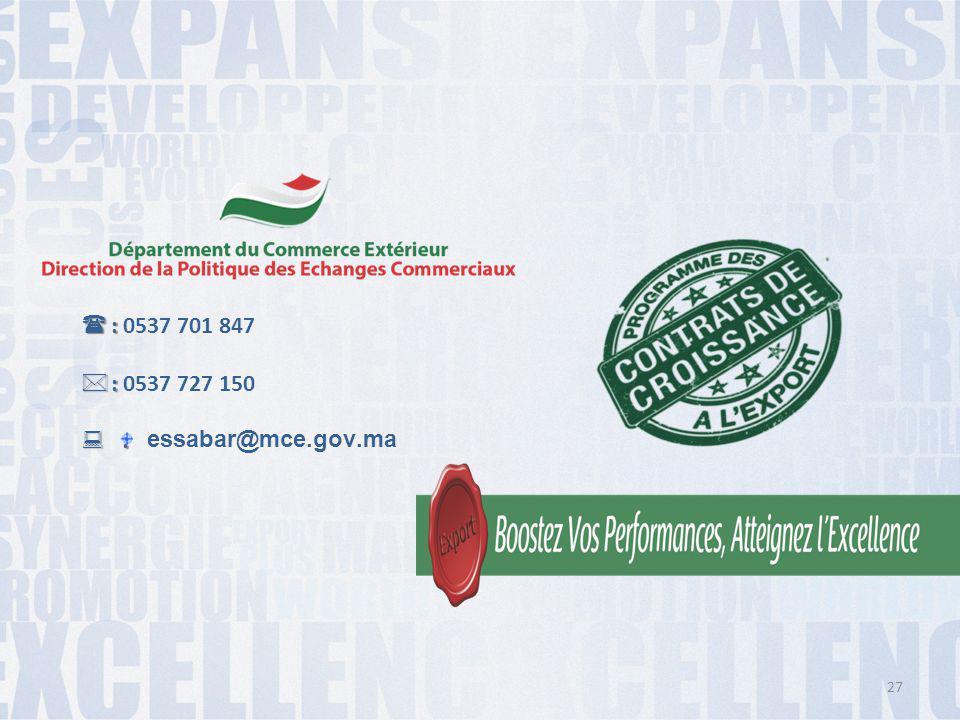 : 0537 701 847 : 0537 727 150 : essabar@mce.gov.ma
