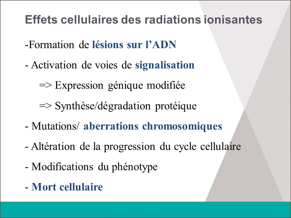 Effets cellulaires des radiations ionisantes