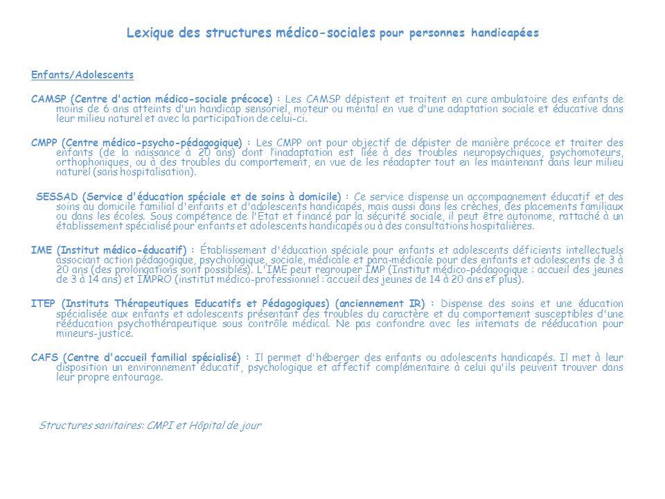 Lexique des structures médico-sociales pour personnes handicapées