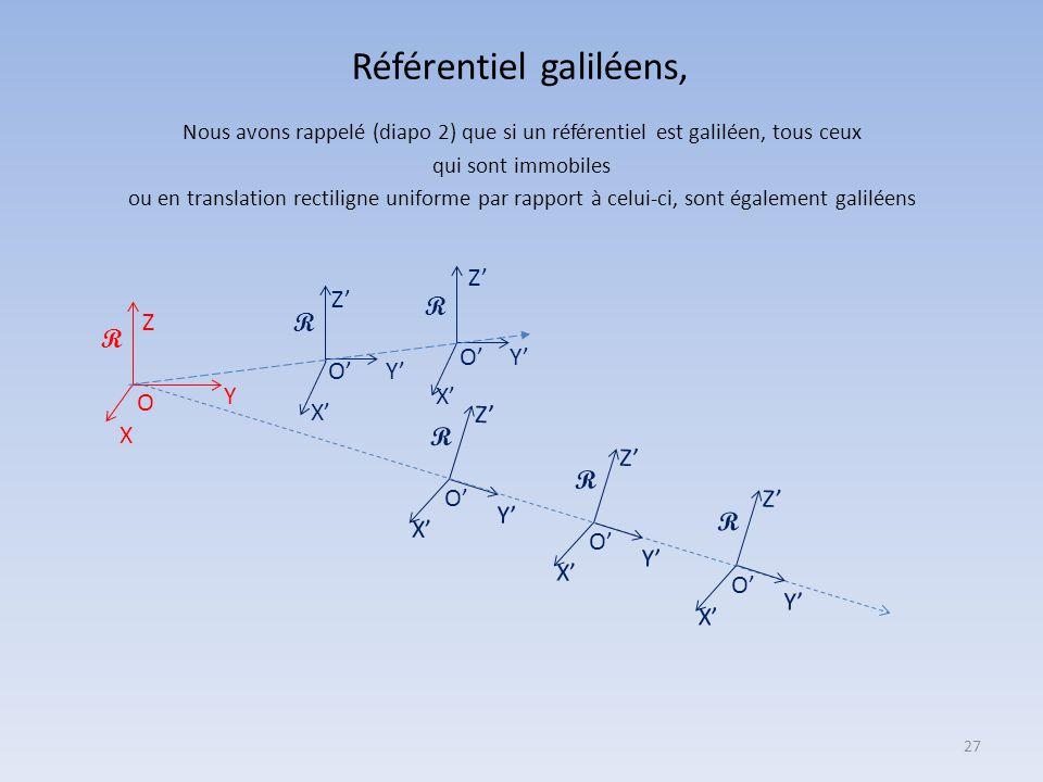 Référentiel galiléens,