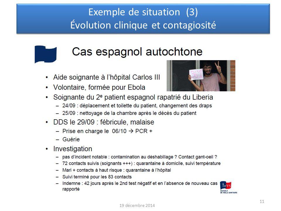 Exemple de situation (3) Évolution clinique et contagiosité