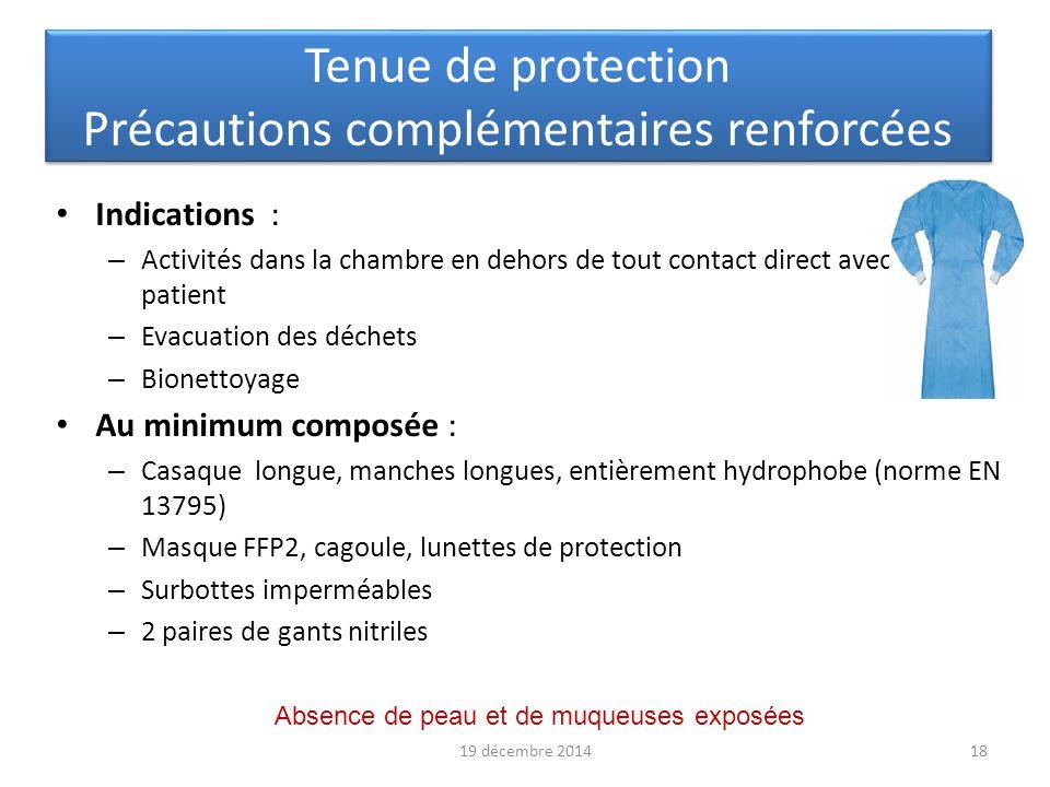 Tenue de protection Précautions complémentaires renforcées