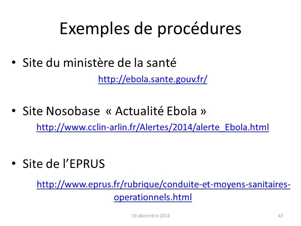 Exemples de procédures