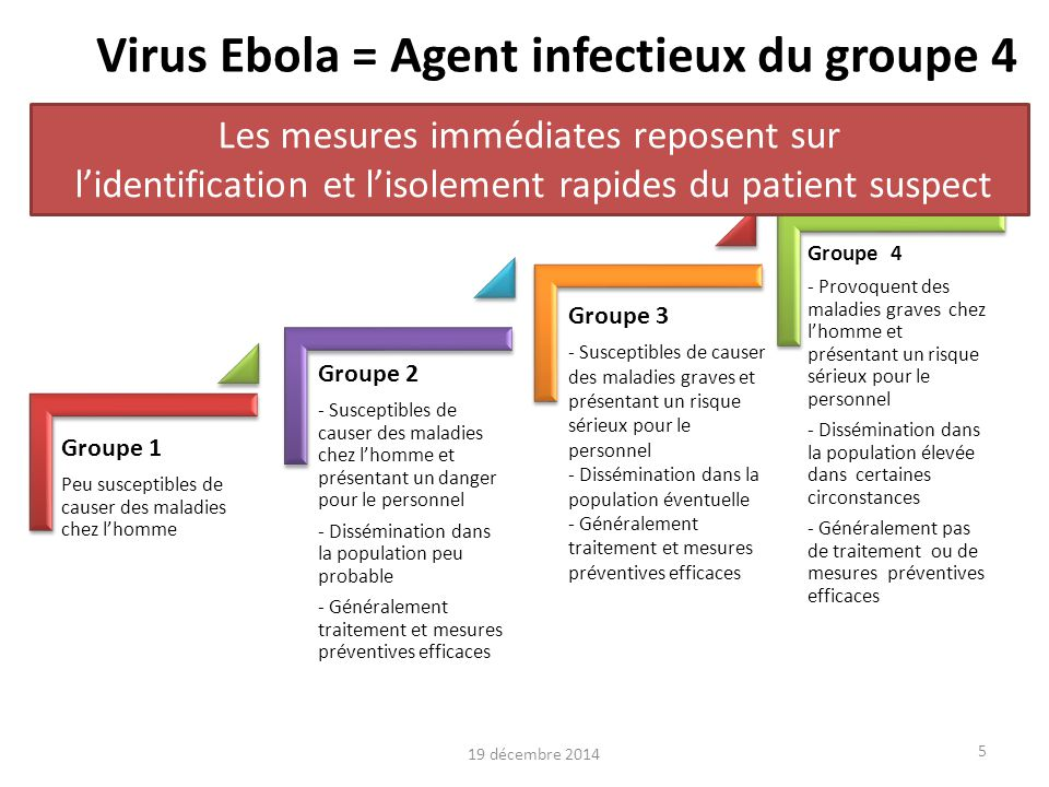 Virus Ebola = Agent infectieux du groupe 4