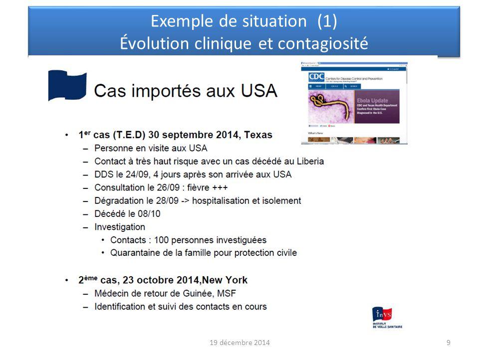 Exemple de situation (1) Évolution clinique et contagiosité
