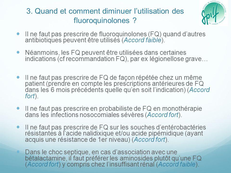 3. Quand et comment diminuer l'utilisation des fluoroquinolones