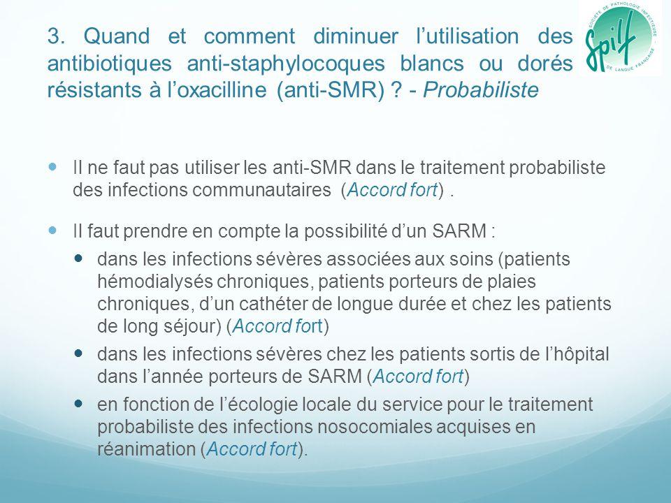 3. Quand et comment diminuer l'utilisation des antibiotiques anti-staphylocoques blancs ou dorés résistants à l'oxacilline (anti-SMR) - Probabiliste