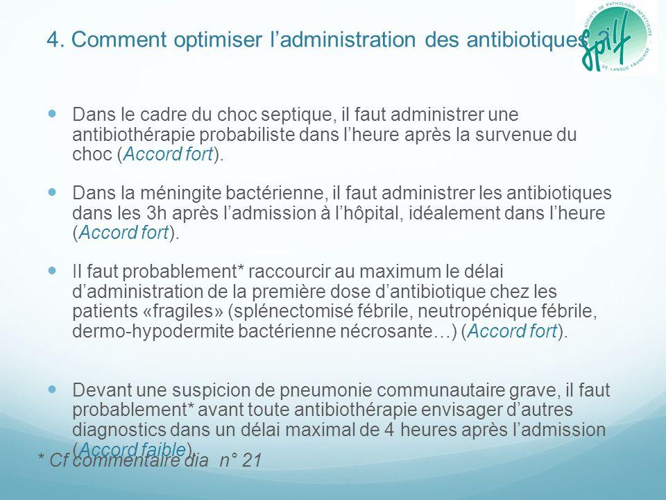4. Comment optimiser l'administration des antibiotiques