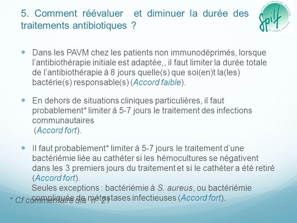 5. Comment réévaluer et diminuer la durée des traitements antibiotiques