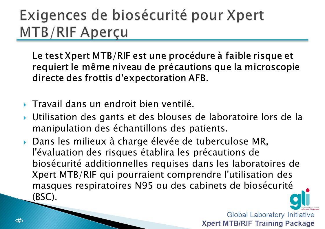 Exigences de biosécurité pour Xpert MTB/RIF Aperçu