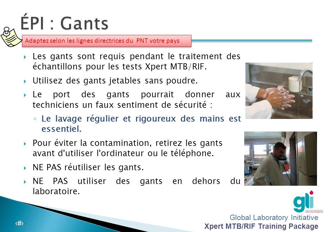 ÉPI : Gants Adaptez selon les lignes directrices du PNT votre pays.