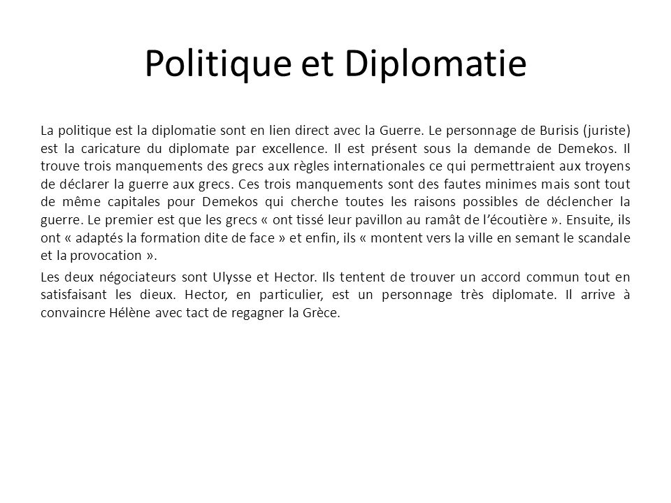 Politique et Diplomatie