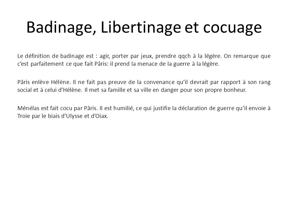 Badinage, Libertinage et cocuage
