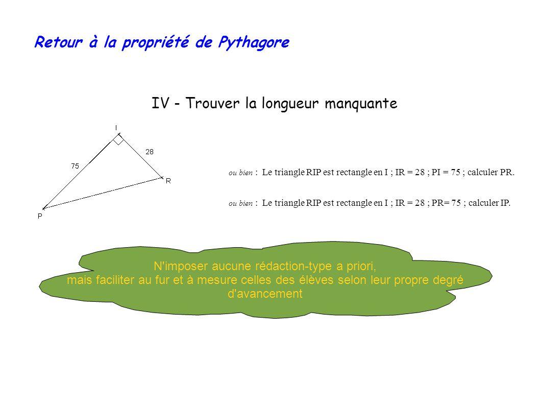 Retour à la propriété de Pythagore