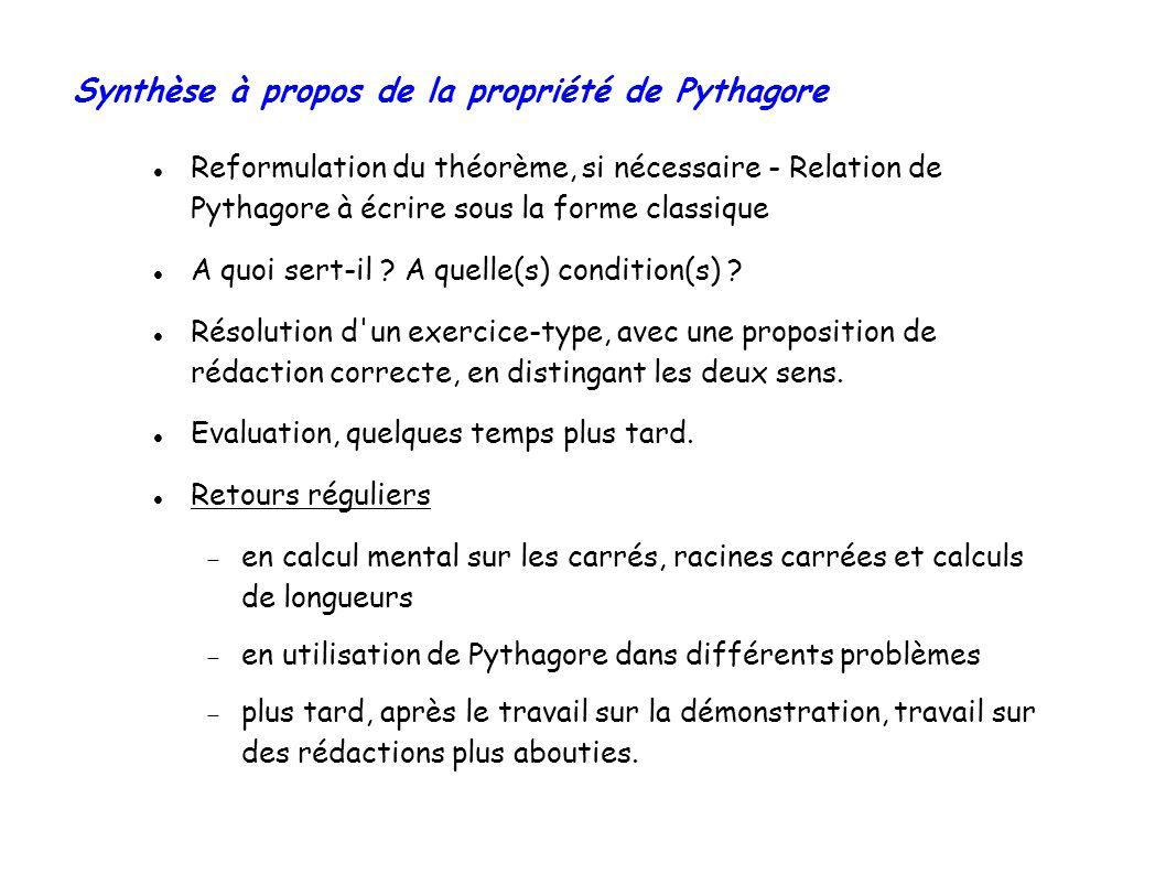 Synthèse à propos de la propriété de Pythagore