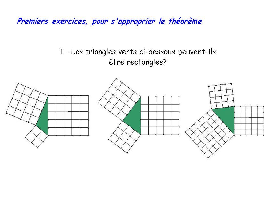 I - Les triangles verts ci-dessous peuvent-ils être rectangles